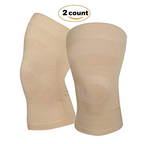 Knee Compression Sleeves, 1 Pair, Lightweight Knee Brace Sleeve for Men Women, Upgraded Knee Support for Meniscus Tear, Arthritis, Pain Relief, Injury Recovery, Sports, Daily Wear. Beige M