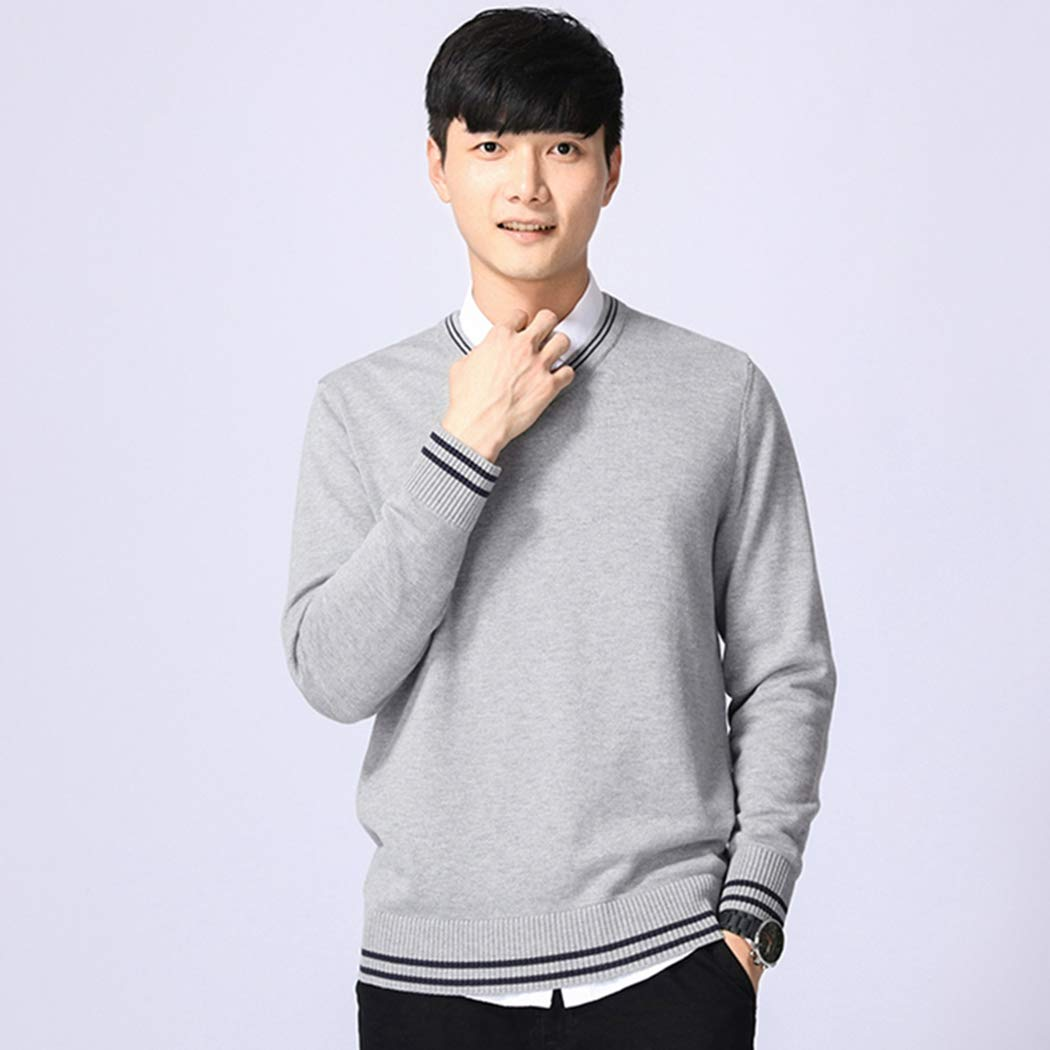 XWBO Mens V-Neck Sweater Long Sleeve Cotton Knit Pullover Solid Color Casual Top for Winter Autumn Spring