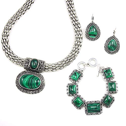 - QERSHI Earrings Stud Earring Pendant High-end Jewelry Boho Retro Malachite Necklace Bracelet Earrings Three-Piece