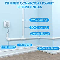 Paintable Wire Hider to Hide Conceal Cords Pre-Drilled PVC Cable Hider CC06 White Cables in Home /& Office 157in Cable Concealer Cover D Channel Cord Cover