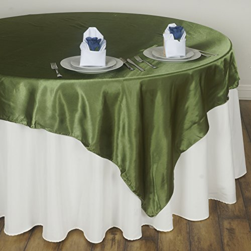 BalsaCircle 5 pcs 72x72 inch Willow Green Square Tablecloth Satin Table Overlays Linens for Wedding Table Cloth Party Reception Events Kitchen Dining]()