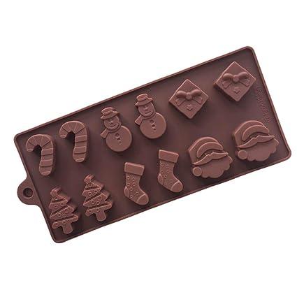 6 Formas de Navidad Torta de Chocolate Hielo de Silicona Molde Fondant Molde para Hornear Muñeco