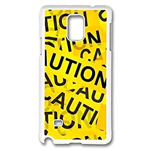Galaxy Note 4 Case, Creativity Design Caution Yellow Tape Fun Print Pattern Perfection Case [Anti-Slip Feature] [Perfect Slim Fit] Plastic Case Hard White Covers for Samsung Galaxy Note 4