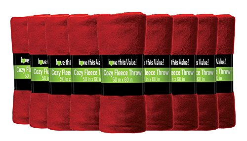 12 Pack Wholesale Soft Comfy Fleece Blankets - 60