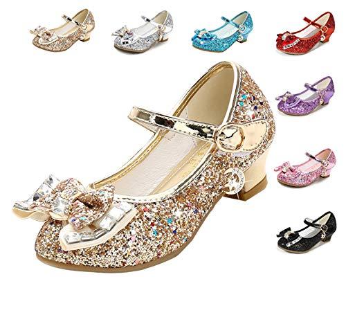 Cadidi Dinos Girls Dress Wedding Party Heel Mary Jane Princess Flower Shoes (Toddler/Little Kid/Big Kid) 2 M US Little Kid ()