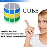 Speed Cube, Jakpak Cylindrica Cube Speed Puzzle Cube 3x3 Smooth Adjustable Tensioning Magic Cube Twisty Puzzle Game for Kids Brain Intellectual Development Speedcubers Puzzles Toys, White