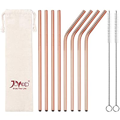 """JOYECO 8 Pcs Stainless Steel Drinking Straws, FDA Standard Straws Reusable,8.5"""" x 0.24"""" for 20oz Tumblers Rumblers, Rose Gold"""