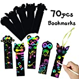 MALLMALL6 Animal Scratch Bookmarks Rainbow Scratch Art Safari Farm Zoo Animals DIY Gift Tags Party Favors Jungle Theme Birthday Party Classroom School Supplies Decorations Crafts Kit for Kids 70 Set