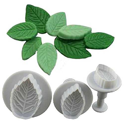3 Pcs Cake Rose Leaf Plunger Fondant Decorating Sugar Craft Mold Cutter Tools (Duck Shape Die Cutter compare prices)