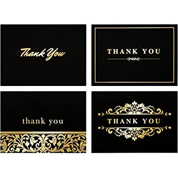 Amazon 100 thank you cards bulk thank you notes gold and 100 thank you cards bulk thank you notes gold and black blank note reheart Image collections