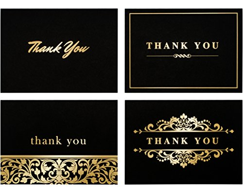100 Thank You Cards by Spark Ink - Blank Thank You Notes with Envelopes - Bulk Pack of Stunning Black and Gold Foil Designs - Ideal for Business, Wedding, Baby Shower - 4x6 Photo Size (black)