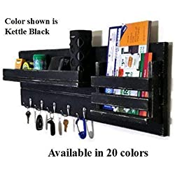 Family Sized Farmhouse Rustic Mail Organizer, Featuring Up to 8 Single Key Hooks, Mail Holder and Shelf. Available in 20 Colors