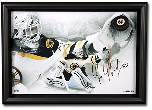 Tim-Thomas-Signed-Puck-20X28-Breaking-Through-Photo-30-Upper-Deck-Certified-Autographed-NHL-Pucks