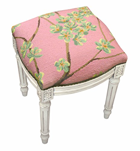 (Kensington Row Home Collection - Accent Stools - Flower Blossom Needlepoint Upholstered Stool - Vanity Seat - Rose - Antique White Frame)