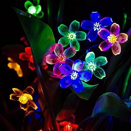 t sun 25ft 30leds outdoor solar string lights colorful solar christmas lights hanging