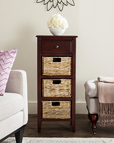 "Safavieh AMH5744C American Homes Collection Michaela Cherry Side Table, 15"" x 11.8"" x 35.8"","