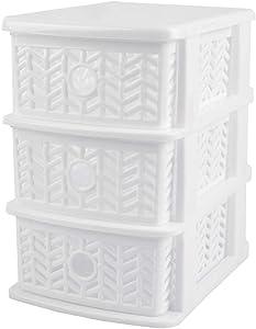 Home Basics Chevron 3 Tier Drawer Compact Plastic Jewelry Storage Organizer (White)