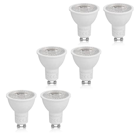 kwmobile Set de 6 bombillas regulables LED GU10 3000K - Focos en blanco cálido - Bombillas direccionales de 7W - Reemplazo de halógenos de 40W-50W