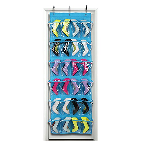 Uphome Clear Over the Door Shoe Organizer/Storage Rack - Space-saving Hanging PEVA 24-Pocket Organizer Bag with Free Hooks,Blue