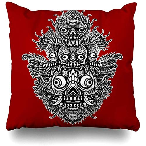 - Decorative Throw Pillow Cover Cushion Case Occult Red African Indonesian Mask Fantastic Ritual Scary Magic Abstract Alchemy Alien Bali Black Home Decor Pillowcase Square Size 18