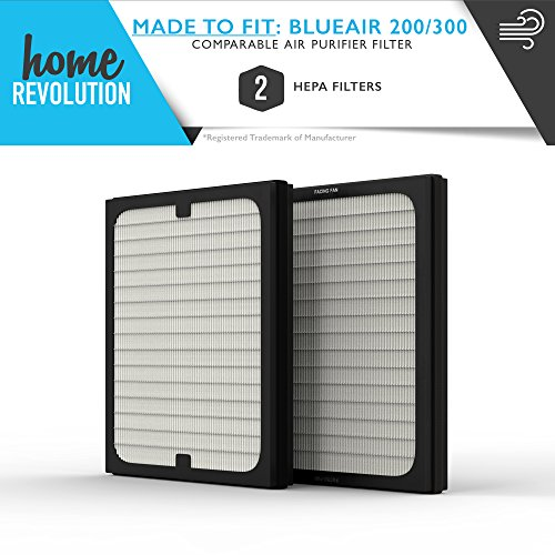 Blueair 200/300 Series Part # 201, 210B, 203, 250E, 200PF and 201PF for Blueair 200 and 300 Series Models, Comparable Air Purifier Filter A Home Revolution Brand Quality Aftermarket Replacement 2PK
