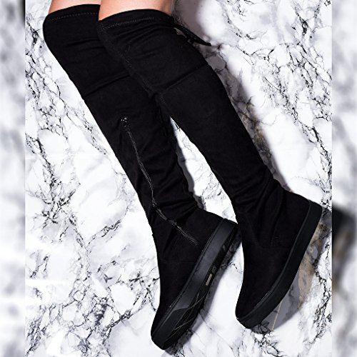 Tall Spylovebuy Karoo Style Knee Over Lace up Women's Black Flat Sole Skater Boots Suede R6qRzr