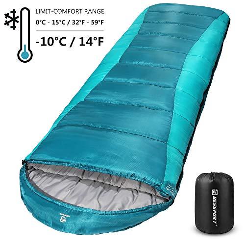 Bessport Sleeping Bag Winter | 14℉/-10℃ Extreme 3-4 Season Warm & Cool Weather Adult Sleeping Bags Large | Lightweight, Waterproof for Camping, Backpacking, Hiking (Blue&Green)