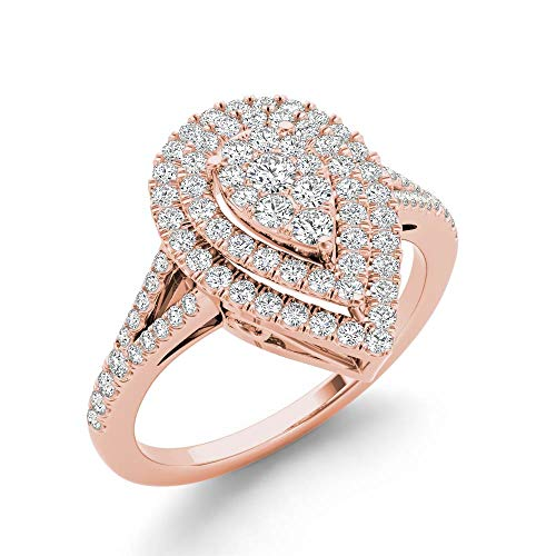 IGI Certified 14k Rose Gold 1/2 Ct TDW Diamond Cluster Pear-Shaped Engagement Ring (I-J, I2) ()