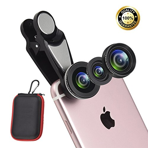 3 in 1 Cell Phone Lens Kit with Case, Included Super Fisheye Lens + 0.63x Wide Angle + 15x Macro Lens for iPhone/iPad /Most Android Smart Phones