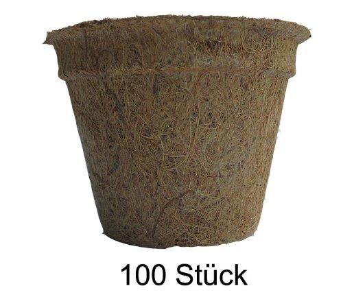 Pflanztöpfe aus Kokosfaser 1,0 Liter (Höhe 10 cm/ Ø oben 16 cm), 100 Stück (Preis je Stück: 1,49 Euro), Kokostöpfe, Anzuchttöpfe, Aussaattöpfe, Naturmaterial