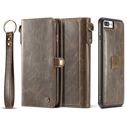 iPhone 8 Plus/ 7 Plus Case, XRPow Detachable Magnetic Leather Wallet Folio Flip Card Slim Cover for iPhone 7 Plus / 8 Plus 5.5inch with Wrist Strap Brown