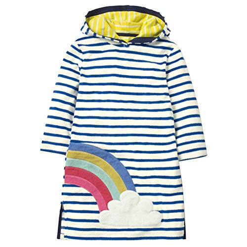 Toddler Girl Dress Stripe Long Sleeve Autumn Winter Cotton Rainbow Basic Hoodie Dress