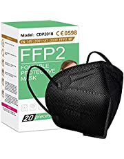 FFP2 Mask 20Pcs, 5 Layer Cup Dust Safety Masks, Disposable Particulate Respirator Against PM2.5, Fire Smoke for Men, Women, EN149:2001+A1:2009 FFP2 NR Black