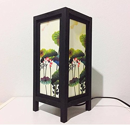 Thai Vintage Handmade Asian Oriental Lotus flower Bedside Table Light or Floor Wood Paper Lamp Shades Home Bedroom Garden Decor Modern Design from Thailand by Thai decorated by Thai Decorated