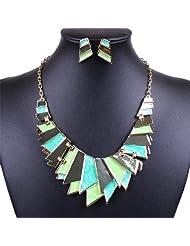 Qiyun Green Enamel Bib Link Plaque Dangle Stick Necklace Stud Earrings Set e mail Vert Plaque Lien Baton Collier