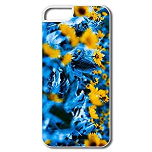 Durable Flowers Blue Leaves Pc Cover For IPhone 5/5s