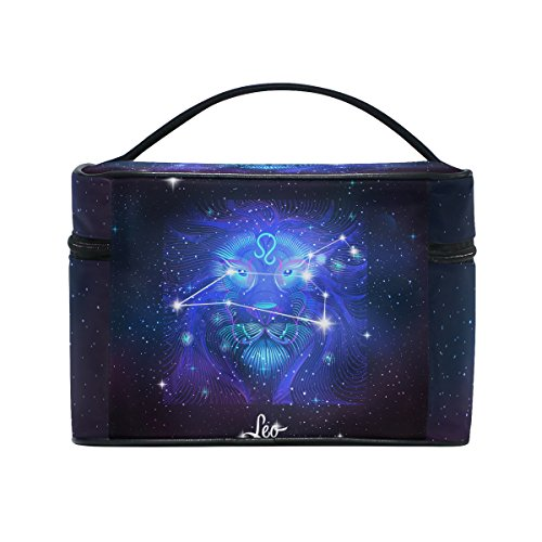 Constellation Zodiac Sign Leo Cosmetic Bags Travel Makeup Toiletry Organizer Case