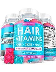 Vegetarian Gummy Hair Vitamins - Hair Skin and Nails Gummies for Faster Hair Growth with Biotin, Fоlіc Аcіd, Vitаmin А for Women and Men - Nail Growth - Hair Gummy Vitamins - Non-GMO, 60 Gummies