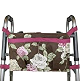 Walker Bag, Brown Floral Print with Pink Trim | Senior Walker Accessory | Carrier Pouch for Senior Walker