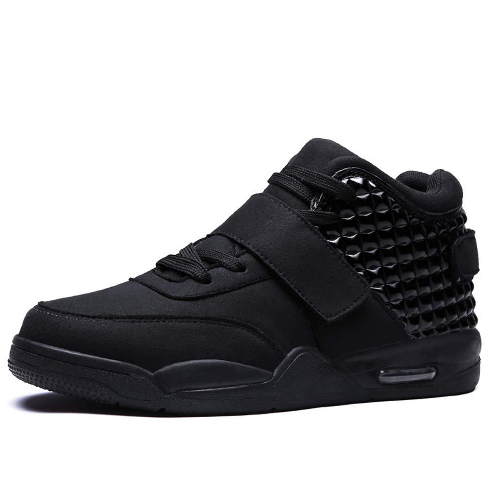 schwarz 44 YAN 2018 Herrenschuhe Mikrofaser Deck Schuhe Luftpolster Basketball Schuhe Mode Teen High-Top-Schuhe Weißszlig; Schwarzot,schwarz,44