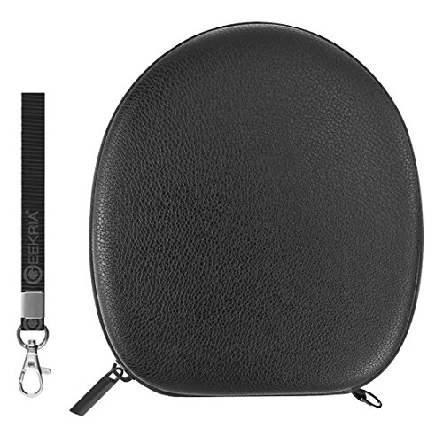 Geekria EJB29 UltraShell Headphones Case/Hard Shell Carrying Case/Protective Travel Bag with Space for Cable, AMP, Earpads, iPod, Parts and Accessories (Black Pebbled Leather)