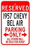 1957 57 CHEVY BEL AIR Aluminum Parking Sign - 10 x 14 Inches