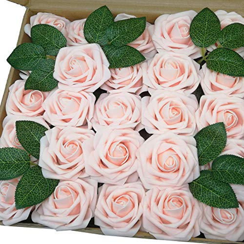 J-Rijzen Jing-Rise Artificial Flowers 50pcs Real Looking Blush Fake Roses with Stem for DIY Wedding Bouquets Centerpieces Party Baby Shower Home Decorations (Blush) ()