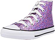 Converse Chuck Taylor All Star Hi Coated Glitter Bold Pink/Black Synthetic Junior Trainers Shoes