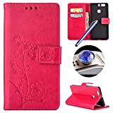 Huawei P9 Plus Flower Case,Huawei P9 Plus Floral Case,Etsue Pretty Pressed Flower Pu Leather Bookstyle Wallet Flip Case Cover with Stand and Card Slots for Huawei P9 Plus+Blue Stylus Pen+Bling Glitter Diamond Dust Plug(Colors Random)-Flower,Rose Red