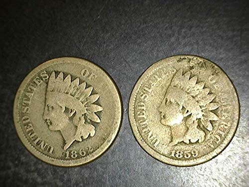 Set of 2 Indian Head Copper Nickels dated 1859 to 1864 Cent Lower grades to Very Circulated to VG