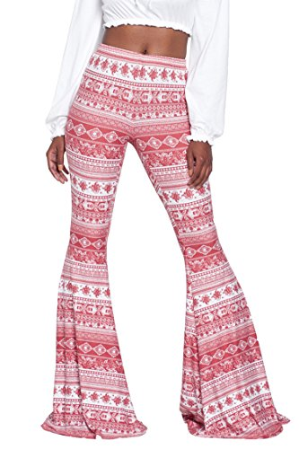 Herose Ladies Poly Spandex the 80' Themed Party Printed Bells Pants Flares M Pink ()