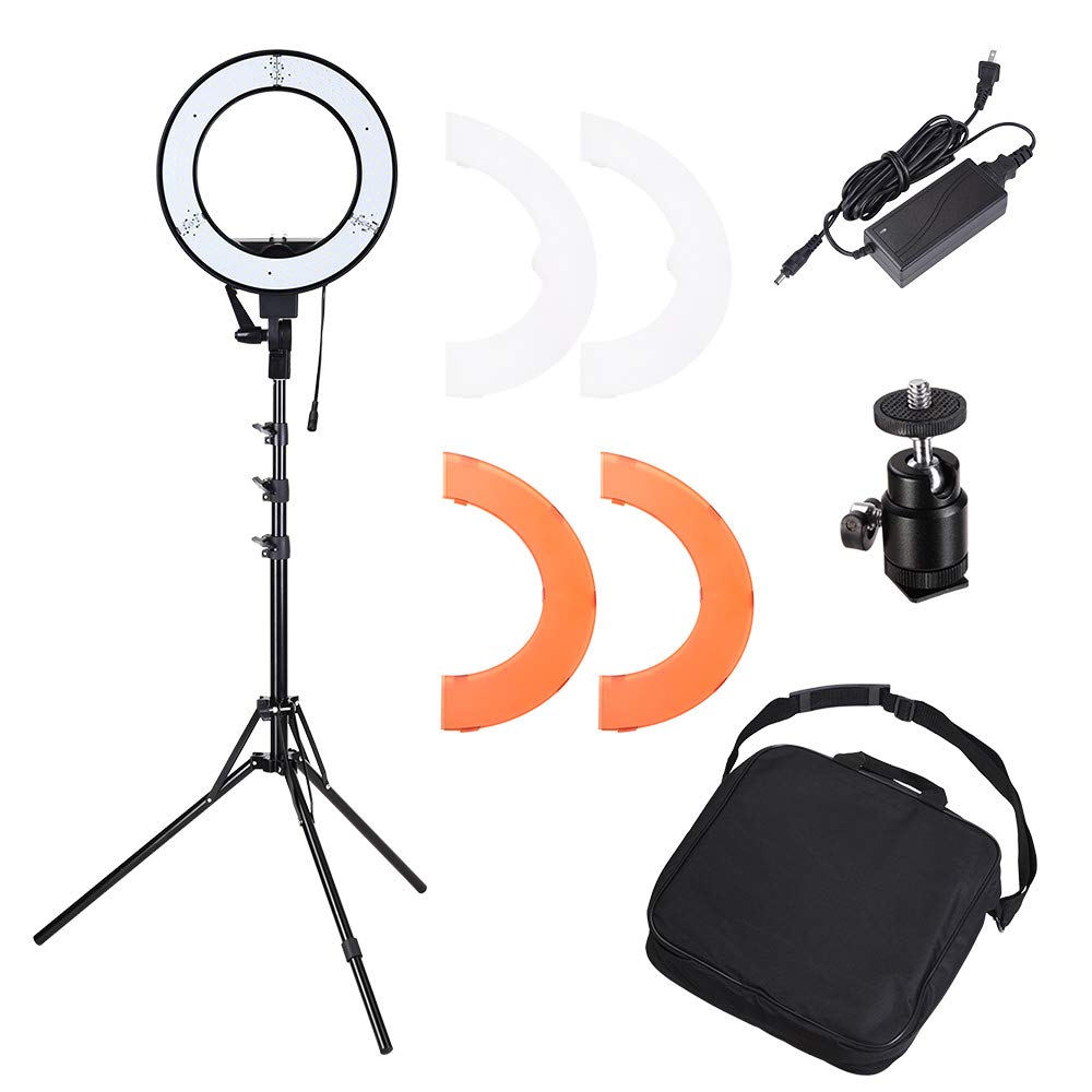 AW Dimmable 14'' 35W 5500K LED Ring Light with Tripod Ball Head Color Filter Photo Video Lighting Stand Kit