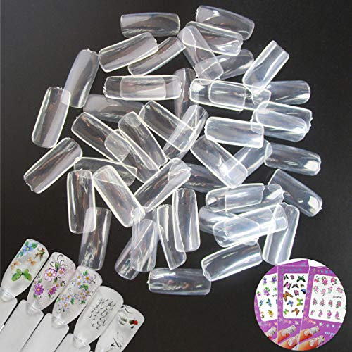 Acrylic Fake - 500PCS Clear False Nail Tips Long Full Cover French Acrylic Square Fake Nails Fingernails Decoration Manicure Tools with Nail Sticker (Bi005B)