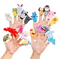 Oiuros Cartoon Animal Finger Puppets Soft Velvet Dolls Props Toys Easter Basket Stuffers